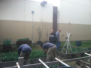 Juvenile Hall Staff and Juveniles in Garden