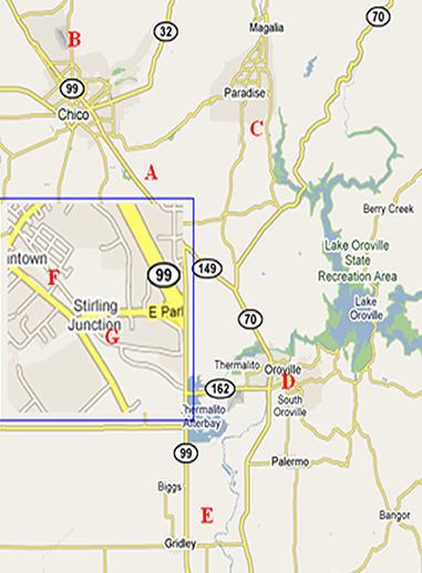 Map Of Major Recycling Facilities - Butte county map